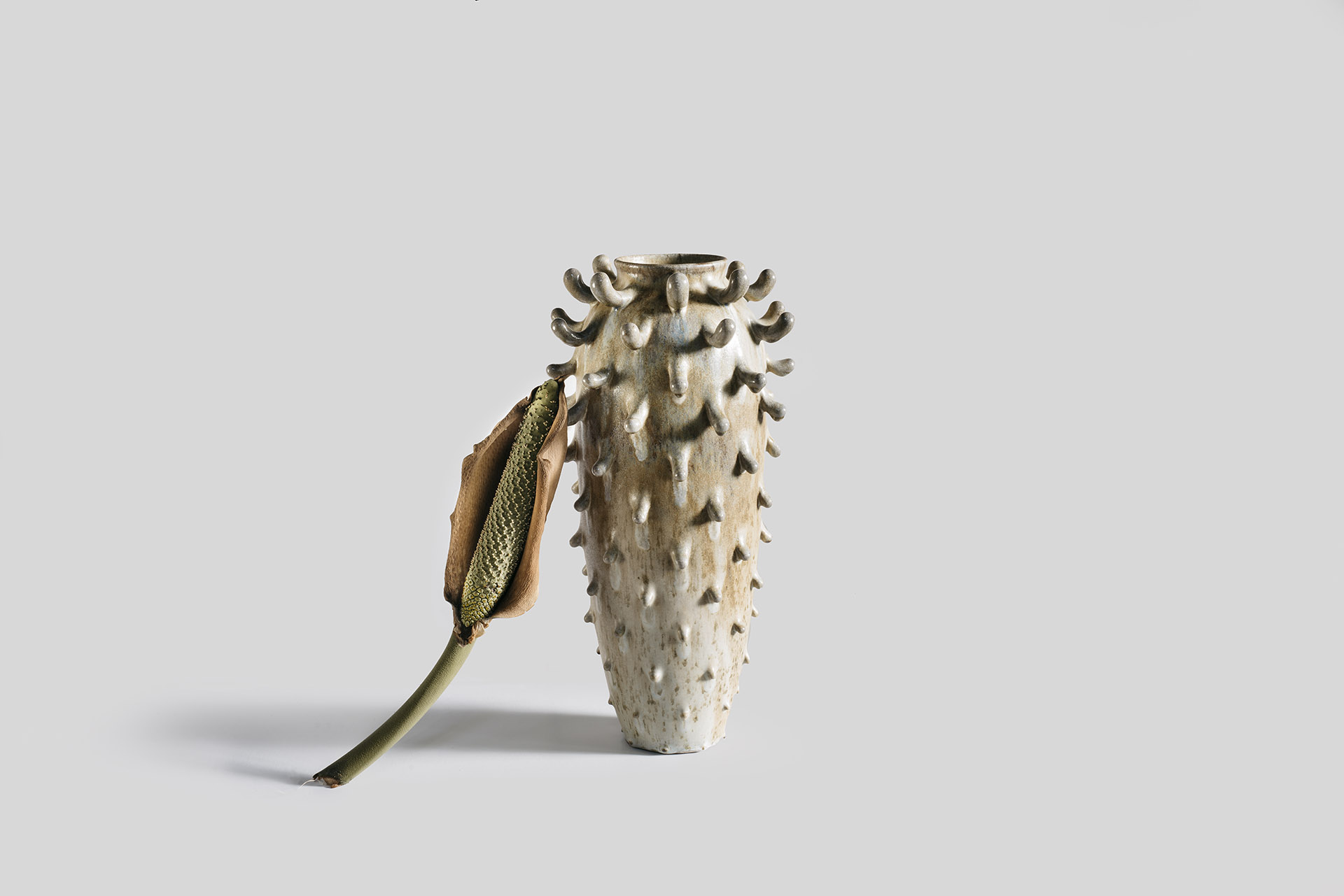 Tall Frilled Vessel, Wood Fired Stoneware, 2018